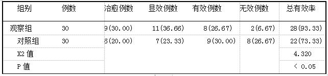 表1两组患者治疗后的总有效率比较(胛,%)
